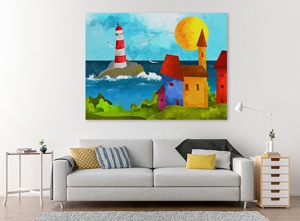 Lighthouse And Houses Art Print on the Wall