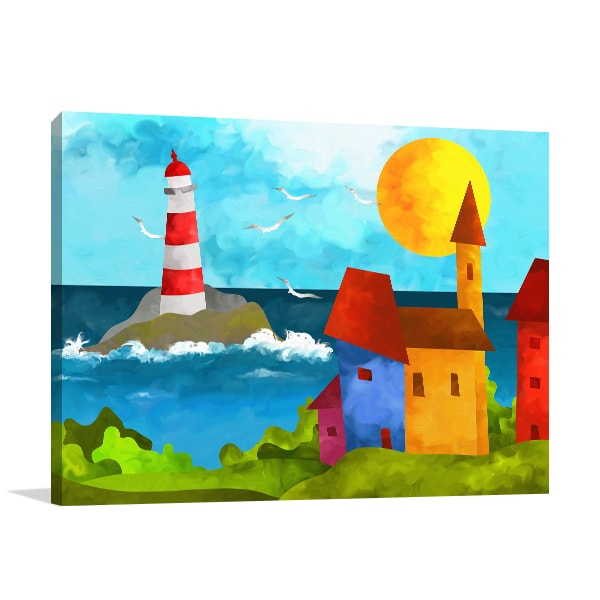 Lighthouse And Houses Print Artwork