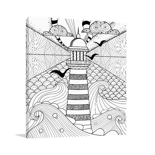 Lighthouse and Sea Prints Canvas