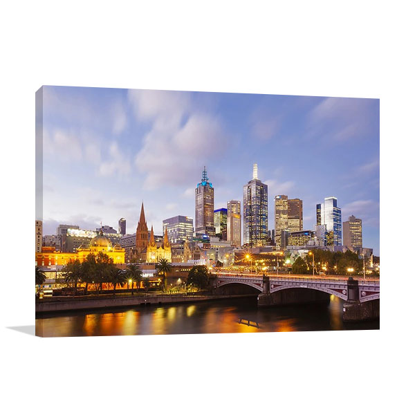 Lights of Melbourne City Canvas Print