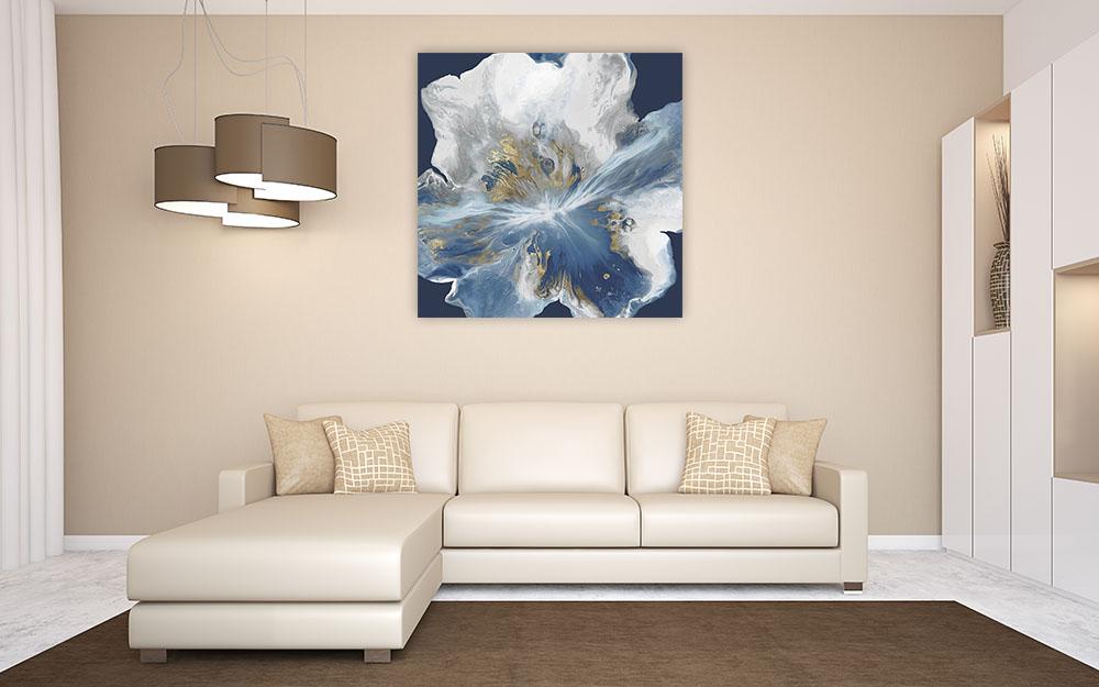 Blue Gold Square Art Print