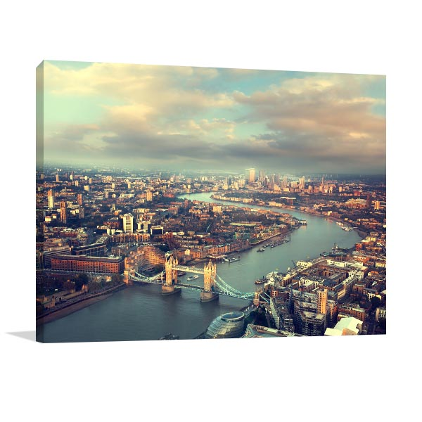 London Aerial View Sunset Artwork