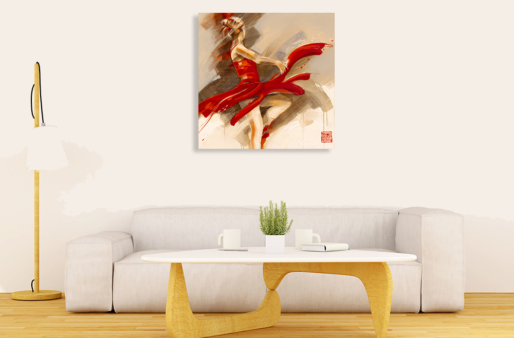 Dancing Lady Red Print on Canvas