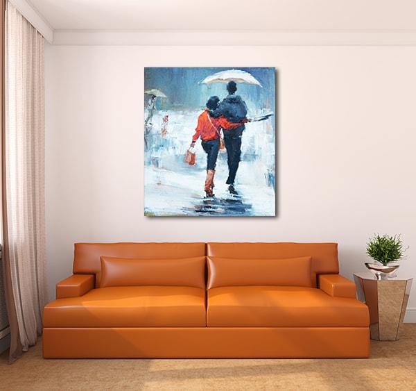 Lovers Under Rain Wall Art