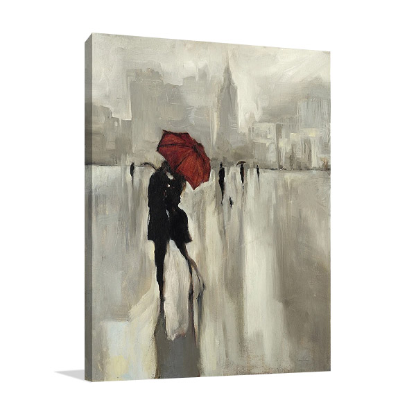 Lovers Under the Rain Wall Print