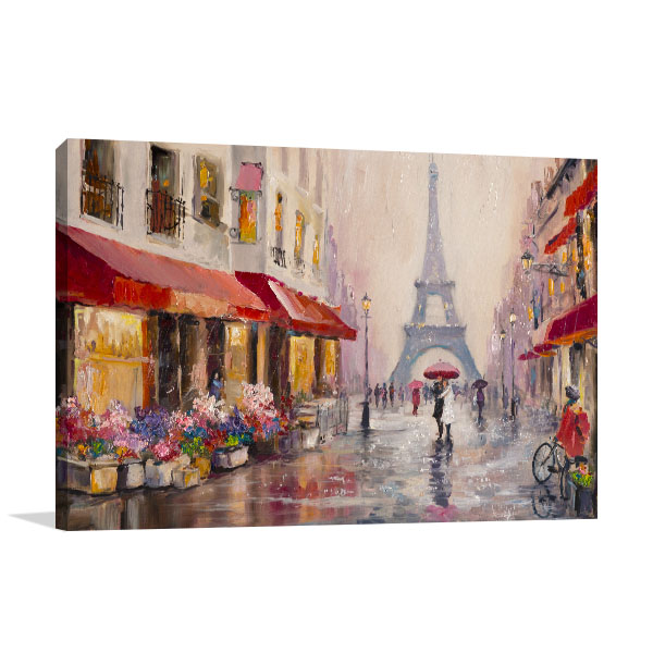 Lovers Under Umbrella Canvas Art