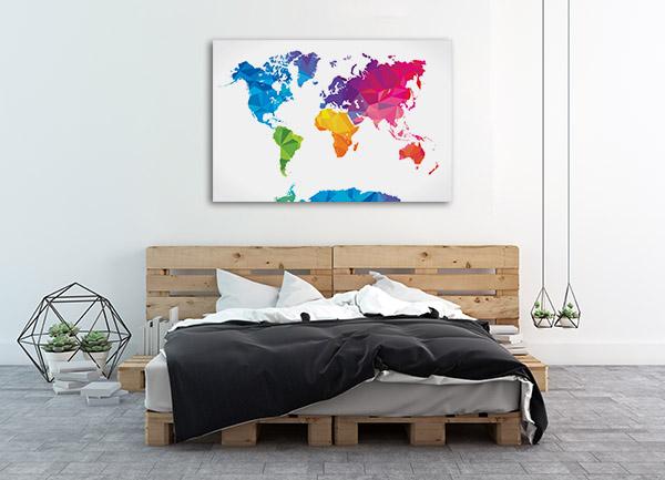 Low Poly World Map Art Prints
