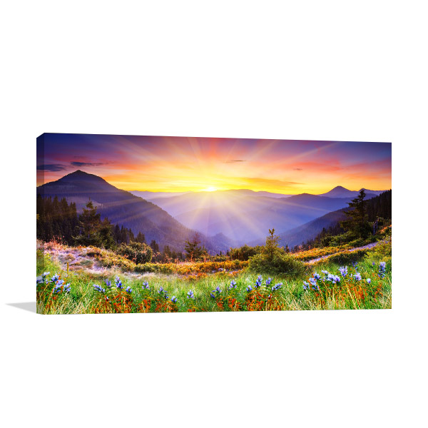 Majestic Sunset in Mountains Prints Canvas
