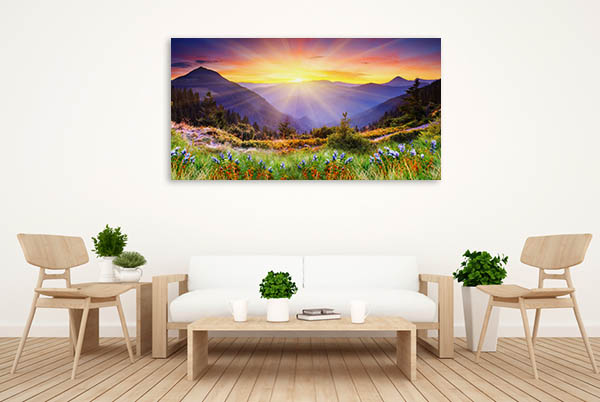 Majestic Sunset in Mountains Canvas Prints