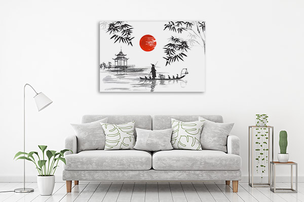 Man With Boat Canvas Art Prints