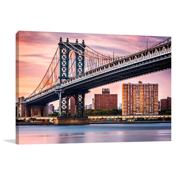 Manhattan Bridge Sunset Canvas Art