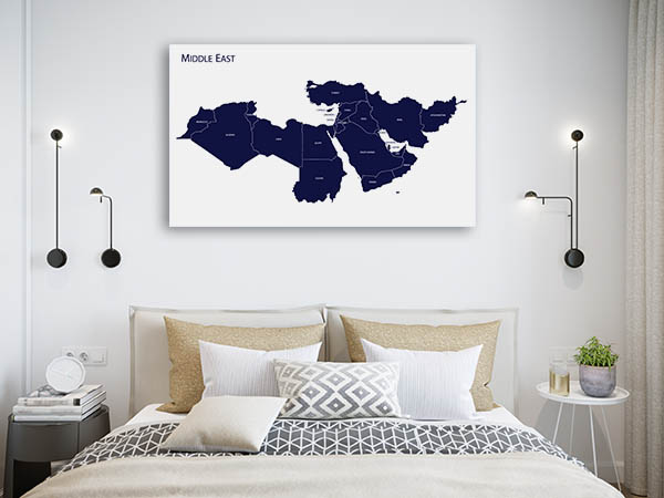 Map Of Middle East Prints Canvas