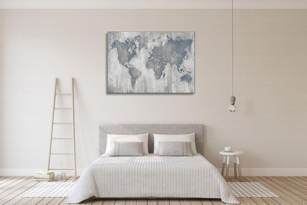 Grey Global Map Canvas Art