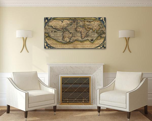 Map Ortelius Print Artwork