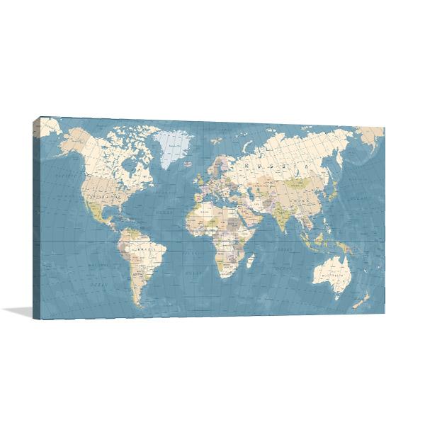 Map Vintage Prints Canvas