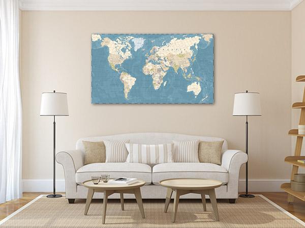 Map Vintage Canvas Art
