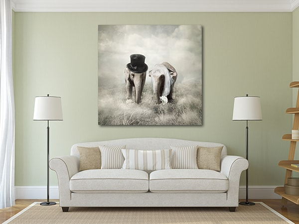 Married Elephants Wall Art Print