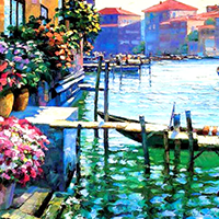 Hand Painted Mediterranean Oil Paintings on Canvas