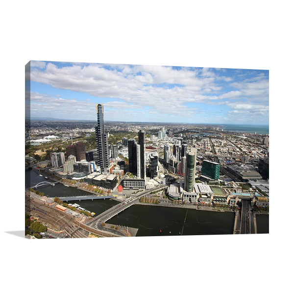 Melbourne Aerial View Canvas Wall Print