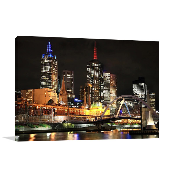 Melbourne City Lights Wall Print