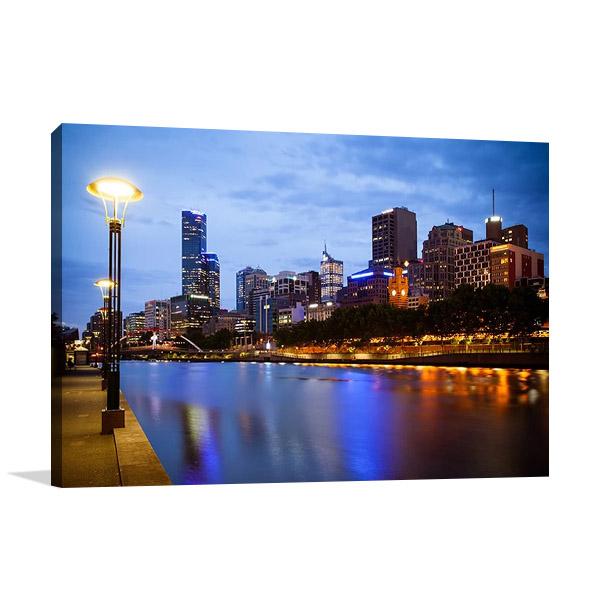 Melbourne Blue Skyline Canvas Print