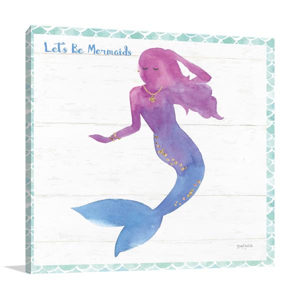 Mermaid Friends III Wall Art Print