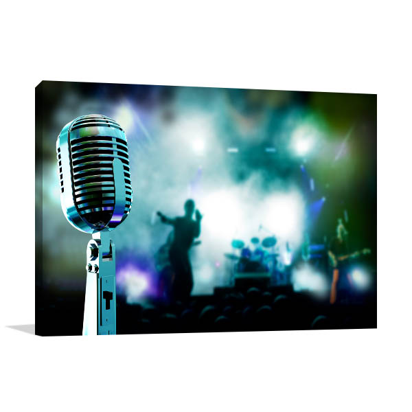 Microphone And Band Canvas Prints