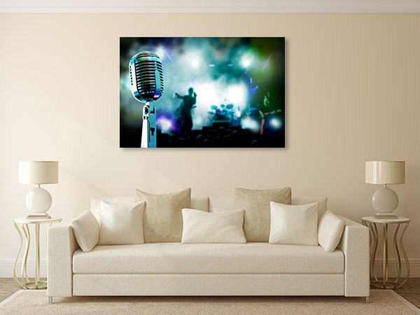 Microphone And Band Canvas Art