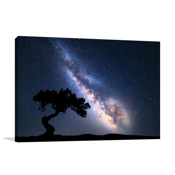 Milky Way at Night Print on Canvas