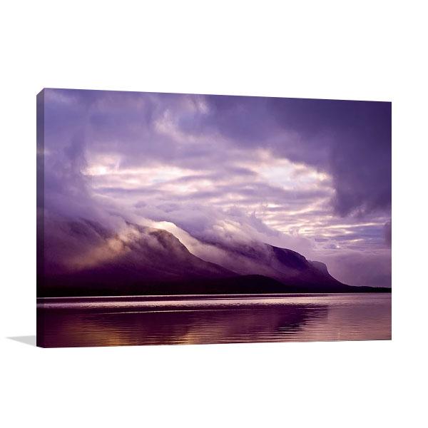 Misty Lake Coast Print on Canvas