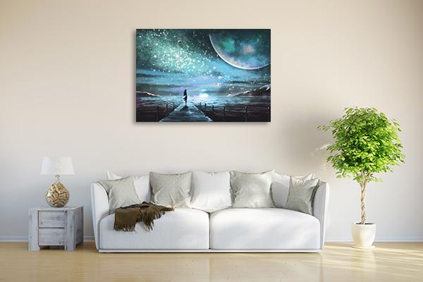 Moon and Ocean Prints Canvas