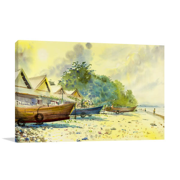Morning at Thailand Prints Canvas