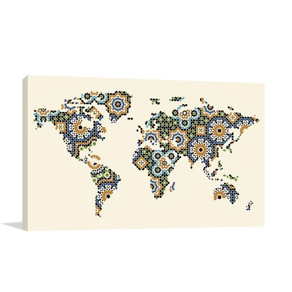Morocco Mosaic Map Art Prints