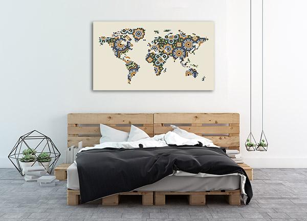 Morocco Mosaic Map Print Artwork