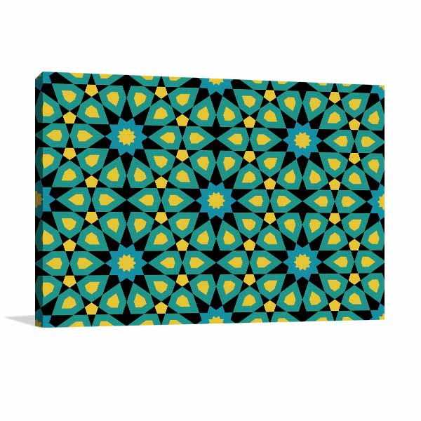 Mosaic Blue and Yellow Canvas Art
