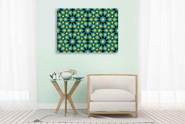 Mosaic Blue and Yellow Canvas Prints