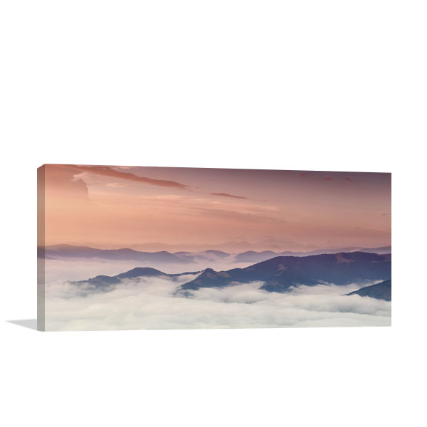 Mountain Panorama At Sundown Canvas Art Prints