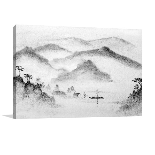 Mountains and Water Mist Prints Canvas