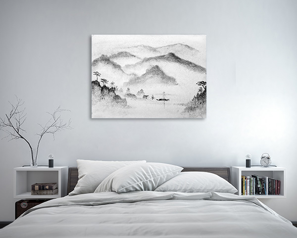 Mountains and Water Mist Canvas Prints