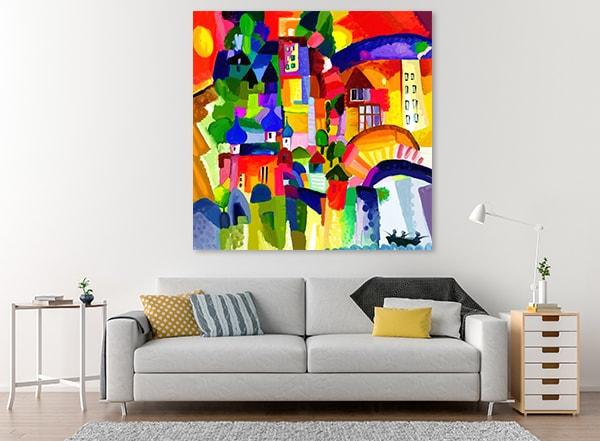 Multi Color Houses Canvas Art Print