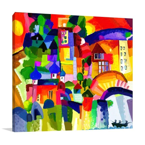 Multi Color Houses Print Art Canvas