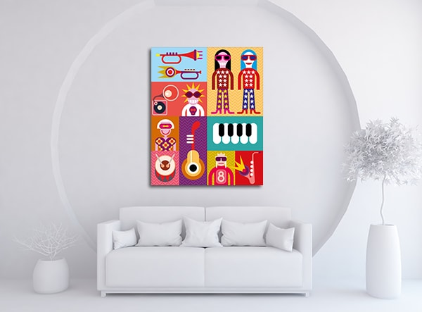 Music Collage Wall Art on the Wall