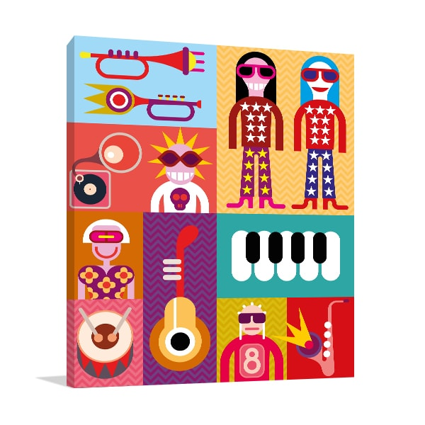 Music Collage Wall Canvas