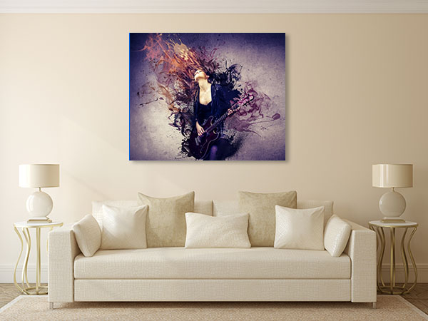 Musician Playing Guitar Prints Canvas