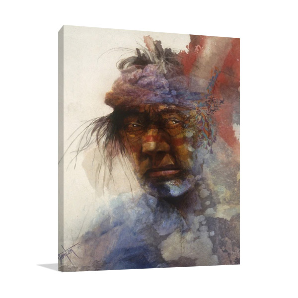 Native Indian Man Print on Canvas