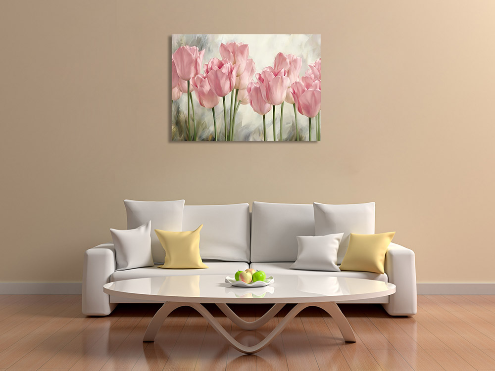 Pink Flower Print on Canvas