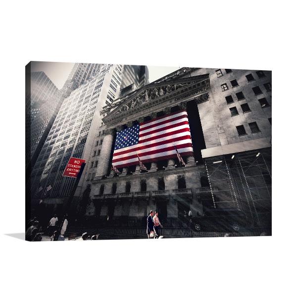 New York Flag on Street Prints Canvas