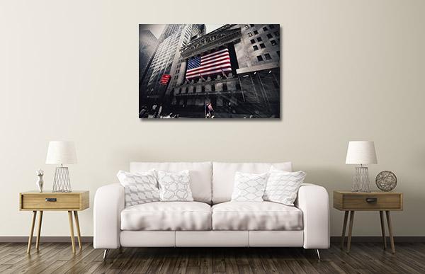 New York Flag on Street Canvas Prints