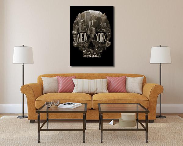 New York Skull Canvas Prints