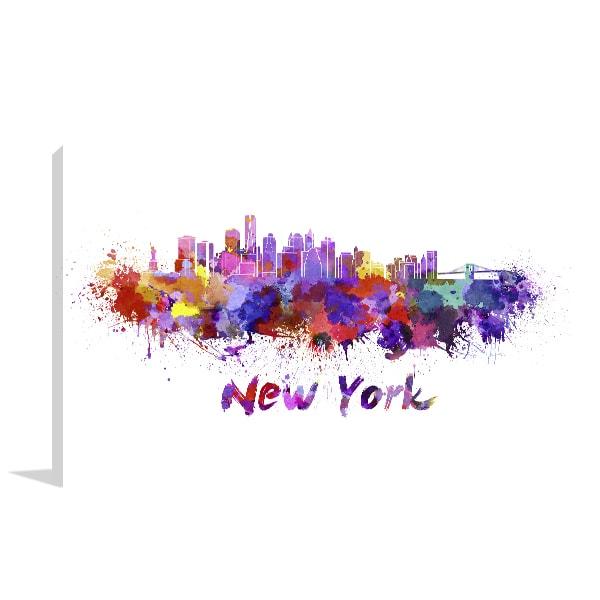 New York Watercolour Canvas Art